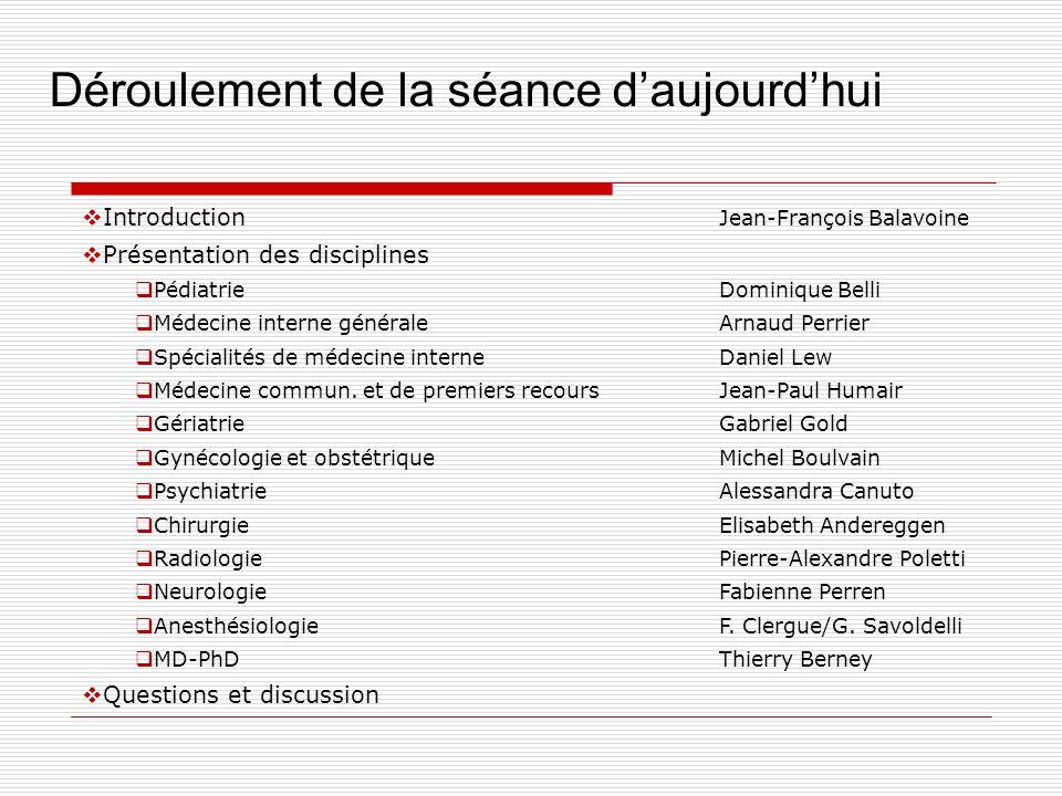 Déroulement de la séance daujourdhui Introduction Jean-François Balavoine Présentation des disciplines PédiatrieDominique Belli Médecine interne génér