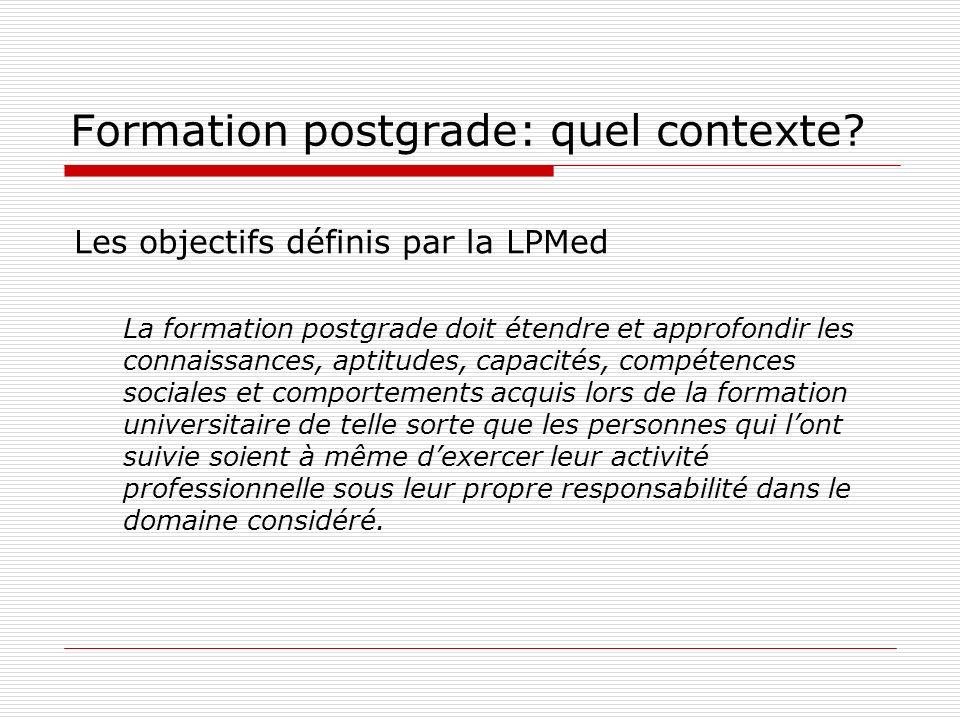 Formation postgrade: quel contexte? Les objectifs définis par la LPMed La formation postgrade doit étendre et approfondir les connaissances, aptitudes