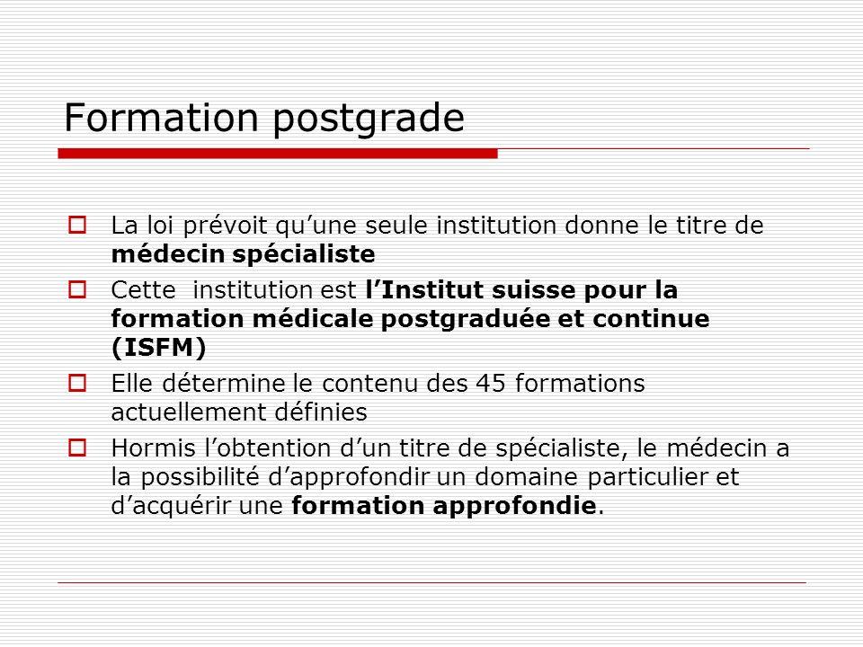 Formation postgrade La loi prévoit quune seule institution donne le titre de médecin spécialiste Cette institution est lInstitut suisse pour la format