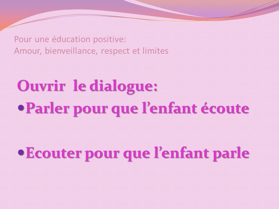 Pour une éducation positive: Amour, bienveillance, respect et limites Ouvrir le dialogue: Parler pour que lenfant écoute Parler pour que lenfant écoute Ecouter pour que lenfant parle Ecouter pour que lenfant parle