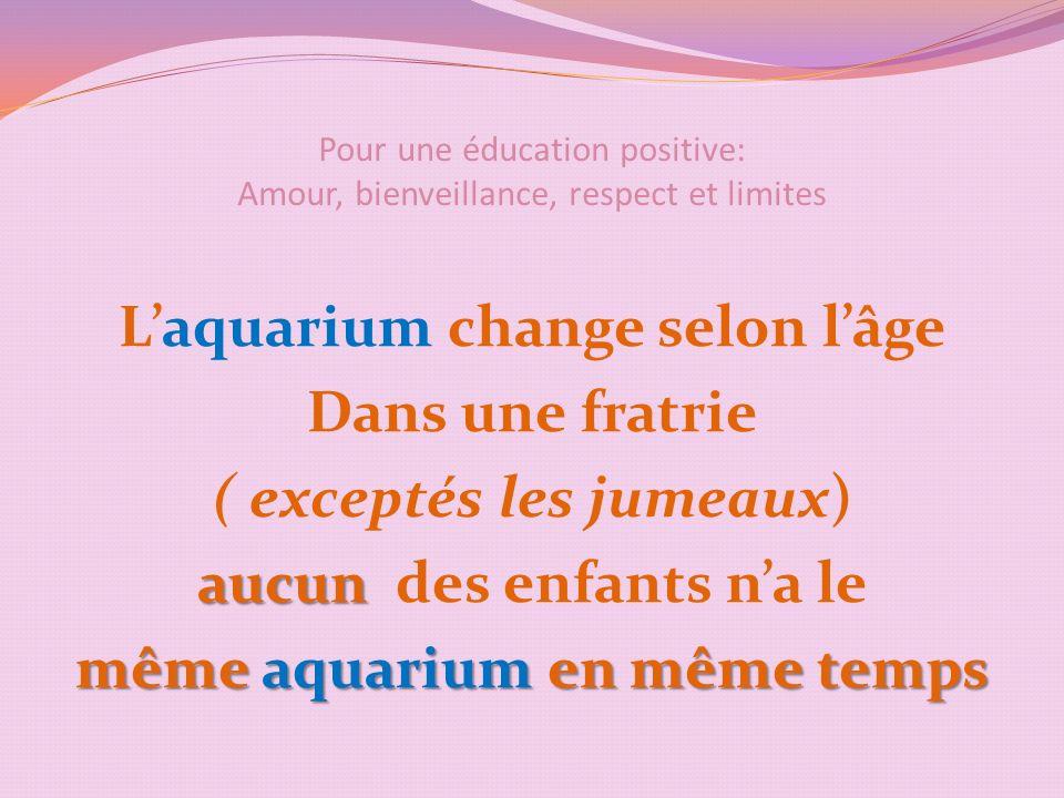 Pour une éducation positive: Amour, bienveillance, respect et limites Laquarium change selon lâge Dans une fratrie ( exceptés les jumeaux) aucun aucun des enfants na le même aquarium en même temps