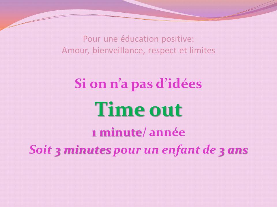 Pour une éducation positive: Amour, bienveillance, respect et limites Si on na pas didées Time out 1 minute 1 minute/ année 3 minutes 3 ans Soit 3 minutes pour un enfant de 3 ans