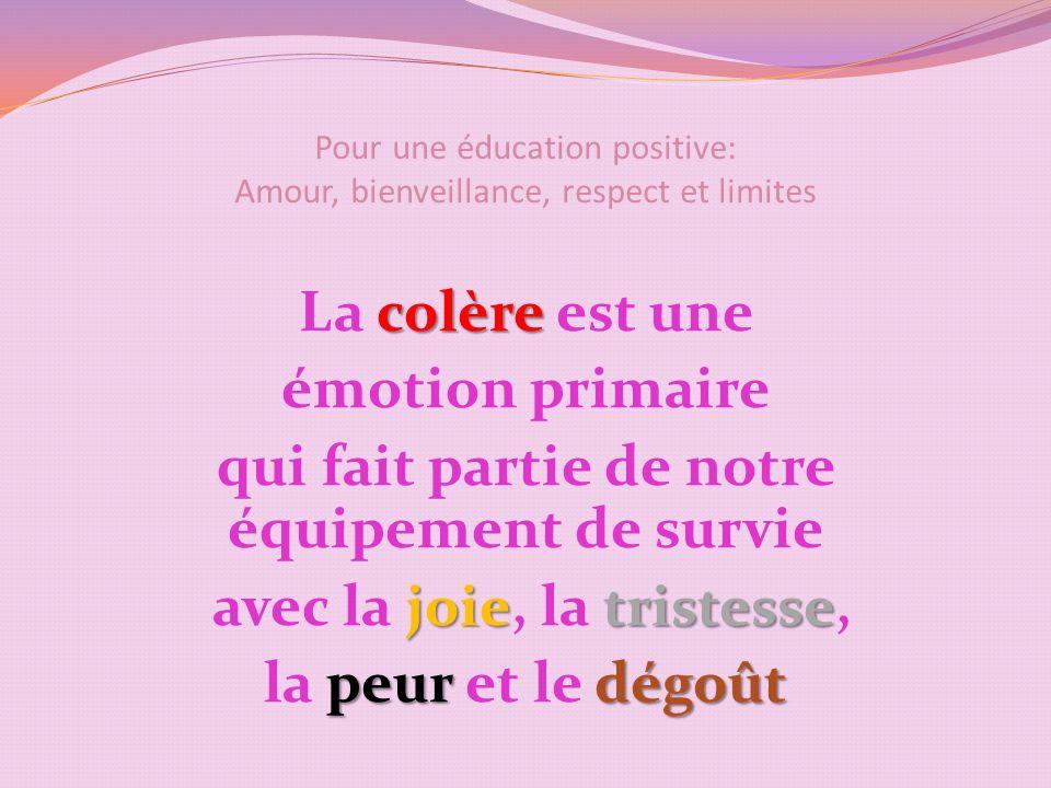 Pour une éducation positive: Amour, bienveillance, respect et limites colère La colère est une émotion primaire qui fait partie de notre équipement de survie joietristesse avec la joie, la tristesse, peurdégoût la peur et le dégoût