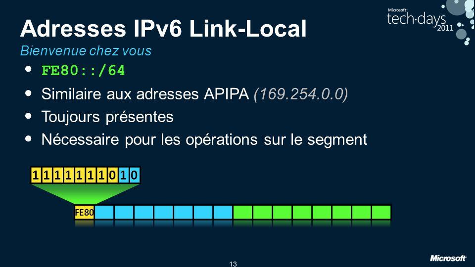 13 Adresses IPv6 Link-Local Bienvenue chez vous FE80::/64 Similaire aux adresses APIPA (169.254.0.0) Toujours présentes Nécessaire pour les opérations sur le segment 1111111010
