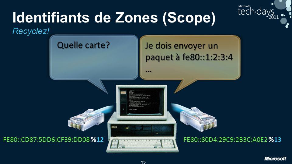 15 Identifiants de Zones (Scope) Recyclez! FE80::CD87:5DD6:CF39:DD08FE80::80D4:29C9:2B3C:A0E2%12%13