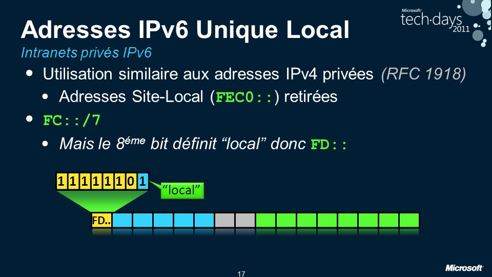 17 Adresses IPv6 Unique Local Intranets privés IPv6 Utilisation similaire aux adresses IPv4 privées (RFC 1918) Adresses Site-Local ( FEC0:: ) retirées