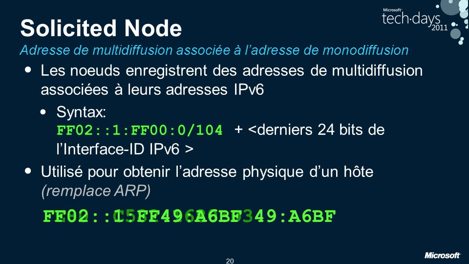 20 Solicited Node Adresse de multidiffusion associée à ladresse de monodiffusion Les noeuds enregistrent des adresses de multidiffusion associées à le