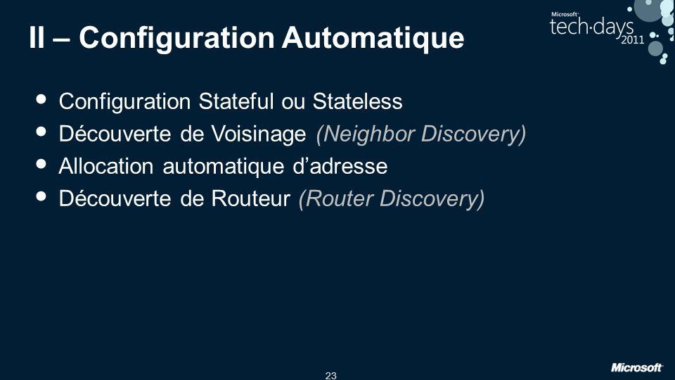 23 II – Configuration Automatique Configuration Stateful ou Stateless Découverte de Voisinage (Neighbor Discovery) Allocation automatique dadresse Découverte de Routeur (Router Discovery)