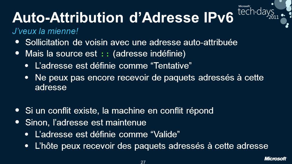 27 Auto-Attribution dAdresse IPv6 Jveux la mienne! Sollicitation de voisin avec une adresse auto-attribuée Mais la source est :: (adresse indéfinie) L
