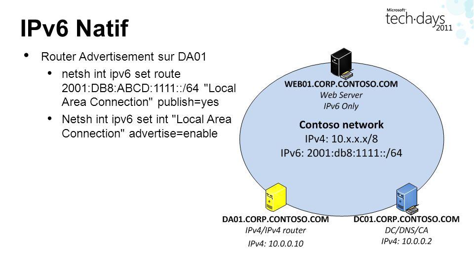 IPv6 Natif Router Advertisement sur DA01 netsh int ipv6 set route 2001:DB8:ABCD:1111::/64