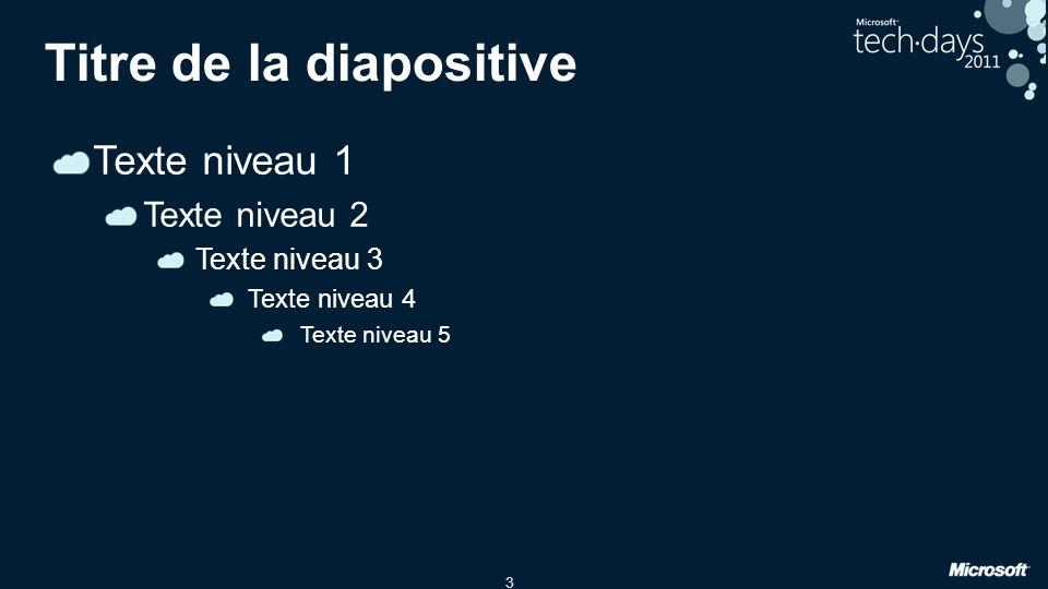 3 Titre de la diapositive Texte niveau 1 Texte niveau 2 Texte niveau 3 Texte niveau 4 Texte niveau 5