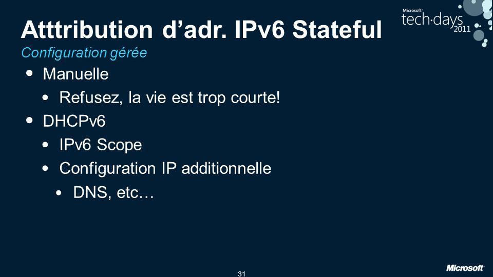 31 Atttribution dadr. IPv6 Stateful Configuration gérée Manuelle Refusez, la vie est trop courte! DHCPv6 IPv6 Scope Configuration IP additionnelle DNS