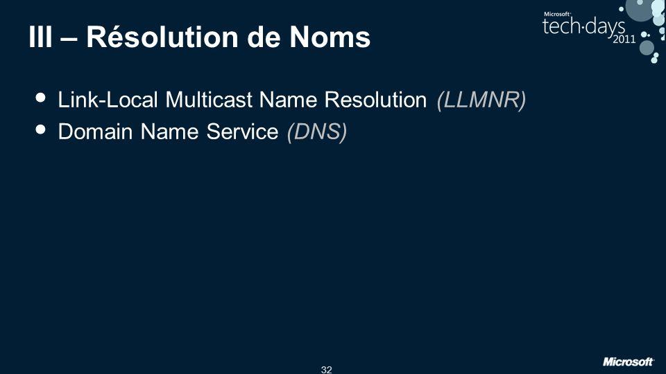 32 III – Résolution de Noms Link-Local Multicast Name Resolution (LLMNR) Domain Name Service (DNS)