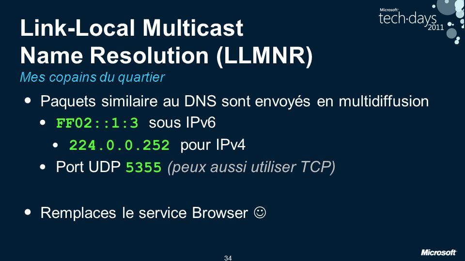 34 Link-Local Multicast Name Resolution (LLMNR) Mes copains du quartier Paquets similaire au DNS sont envoyés en multidiffusion FF02::1:3 sous IPv6 224.0.0.252 pour IPv4 Port UDP 5355 (peux aussi utiliser TCP) Remplaces le service Browser