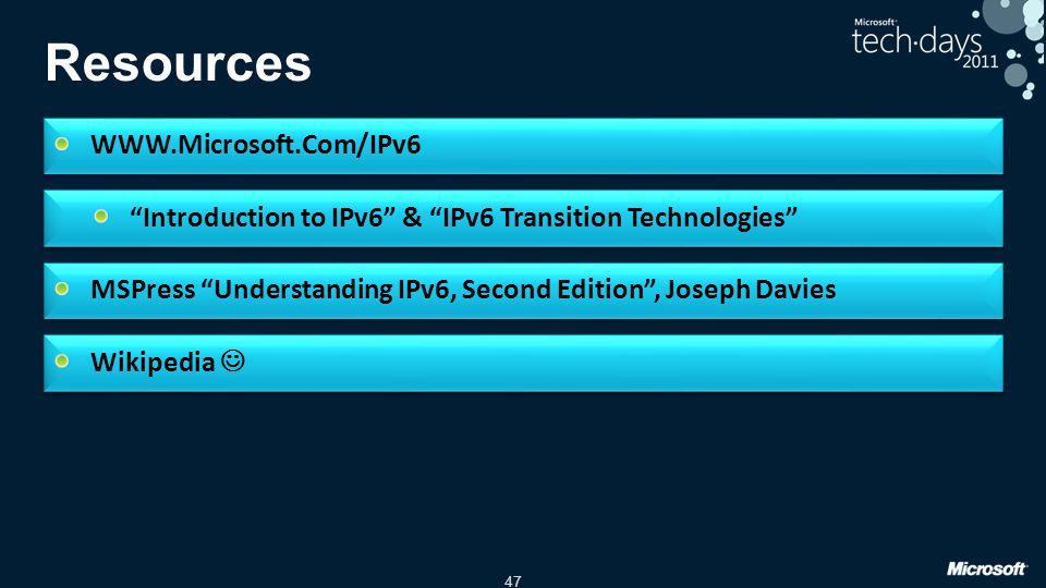 47 Resources WWW.Microsoft.Com/IPv6 Introduction to IPv6 & IPv6 Transition Technologies MSPress Understanding IPv6, Second Edition, Joseph Davies Wikipedia