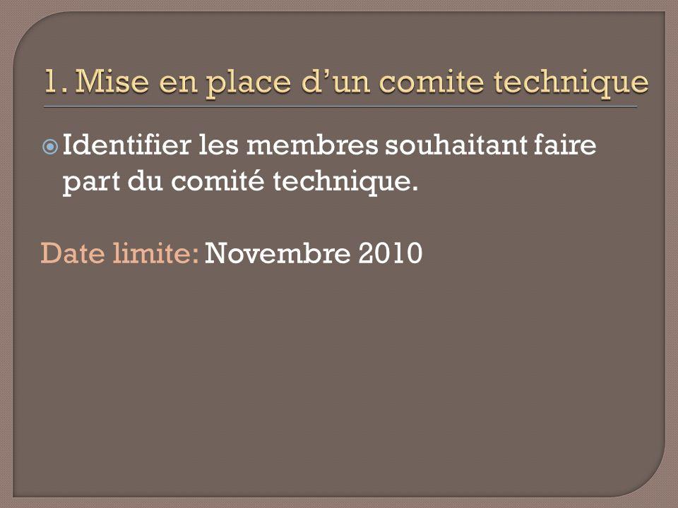 Identifier les membres souhaitant faire part du comité technique. Date limite: Novembre 2010