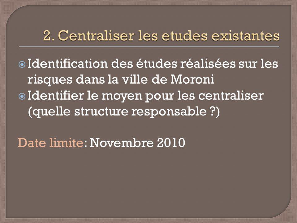 Identification des études réalisées sur les risques dans la ville de Moroni Identifier le moyen pour les centraliser (quelle structure responsable ?) Date limite: Novembre 2010
