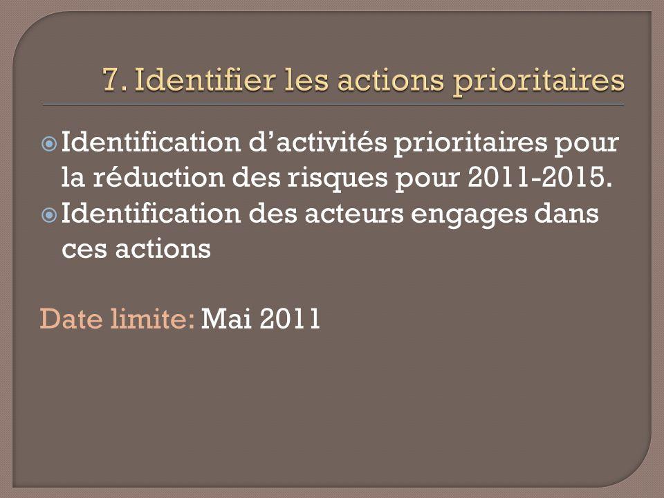 Identification dactivités prioritaires pour la réduction des risques pour 2011-2015.