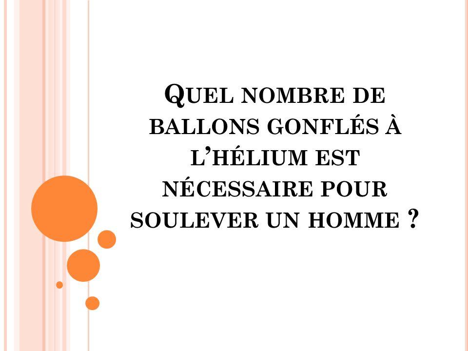 Q UEL NOMBRE DE BALLONS GONFLÉS À L HÉLIUM EST NÉCESSAIRE POUR SOULEVER UN HOMME ?