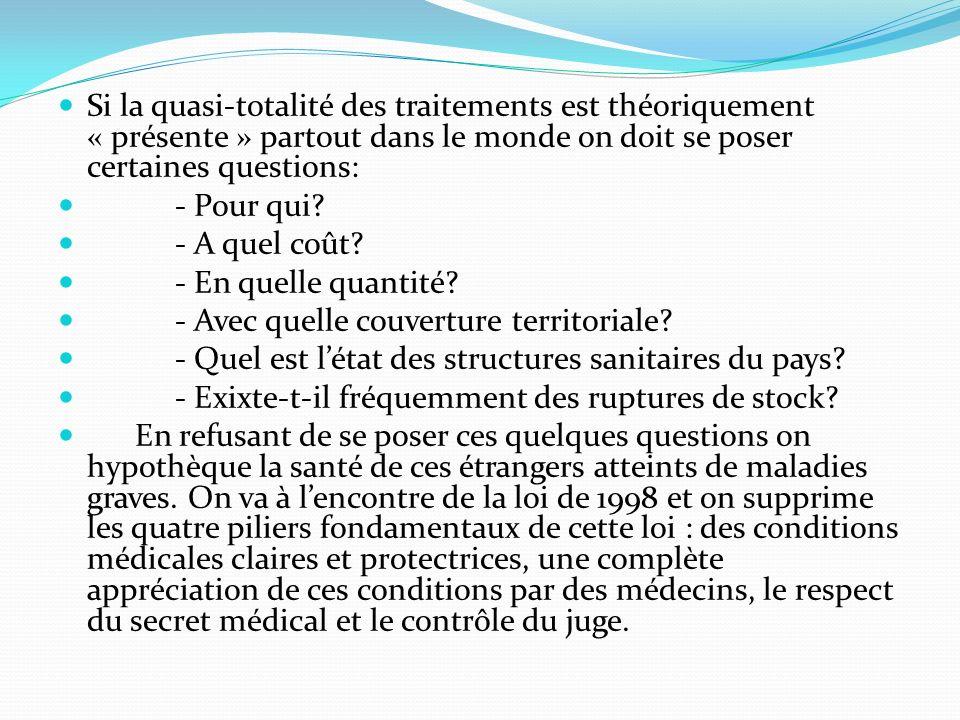 Si la quasi-totalité des traitements est théoriquement « présente » partout dans le monde on doit se poser certaines questions: - Pour qui.