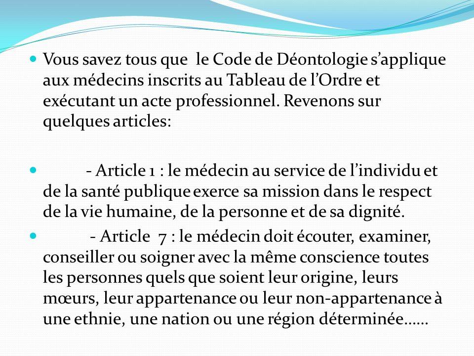 Vous savez tous que le Code de Déontologie sapplique aux médecins inscrits au Tableau de lOrdre et exécutant un acte professionnel.