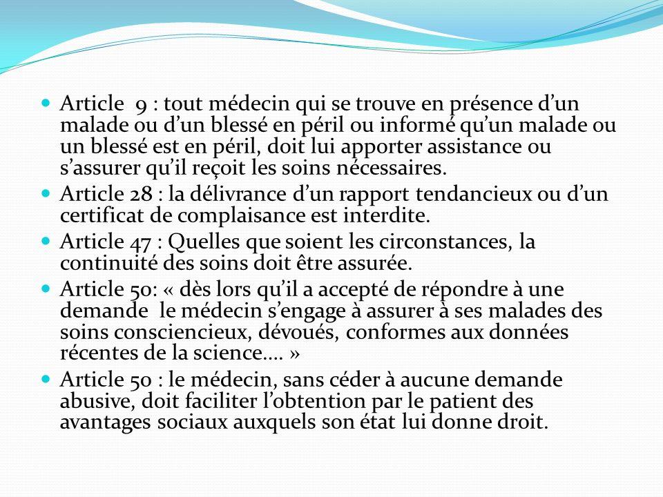 Article 9 : tout médecin qui se trouve en présence dun malade ou dun blessé en péril ou informé quun malade ou un blessé est en péril, doit lui apporter assistance ou sassurer quil reçoit les soins nécessaires.