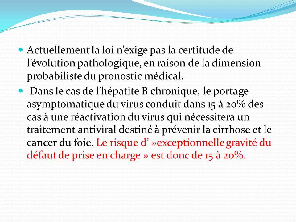 Actuellement la loi nexige pas la certitude de lévolution pathologique, en raison de la dimension probabiliste du pronostic médical. Dans le cas de lh