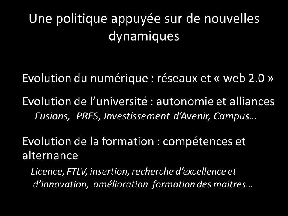 Une politique appuyée sur de nouvelles dynamiques Evolution du numérique : réseaux et « web 2.0 » Evolution de luniversité : autonomie et alliances Fu