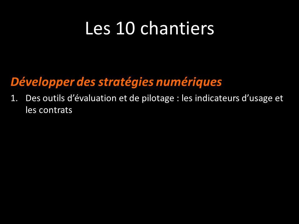 Les 10 chantiers Développer des stratégies numériques 1.Des outils dévaluation et de pilotage : les indicateurs dusage et les contrats