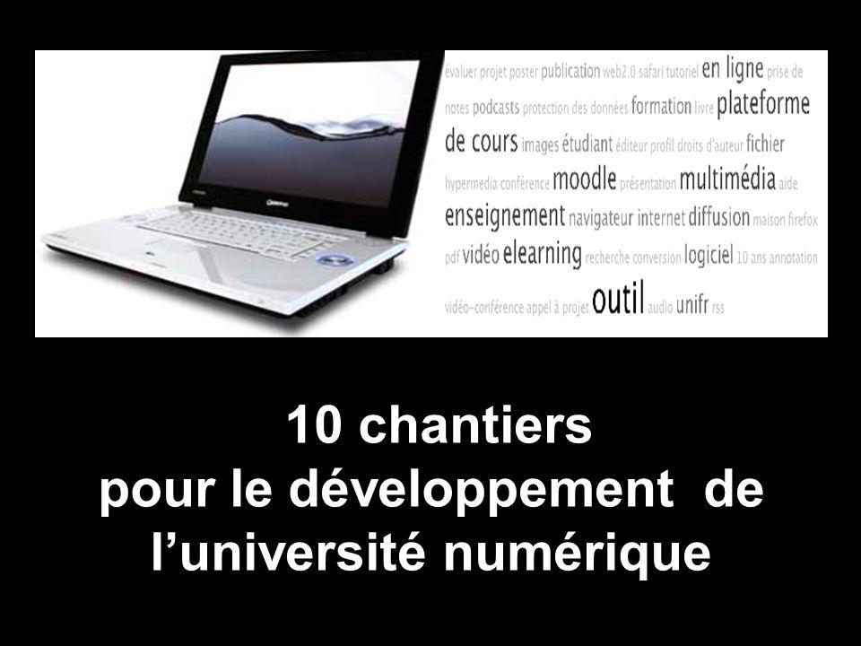 10 chantiers pour le développement de luniversité numérique