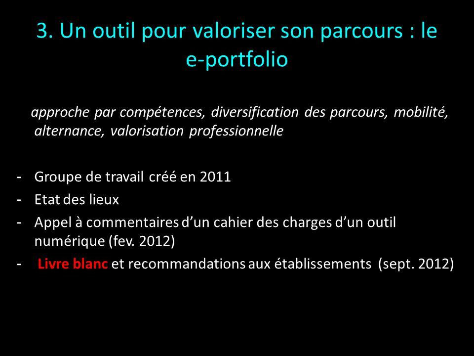 3. Un outil pour valoriser son parcours : le e-portfolio approche par compétences, diversification des parcours, mobilité, alternance, valorisation pr