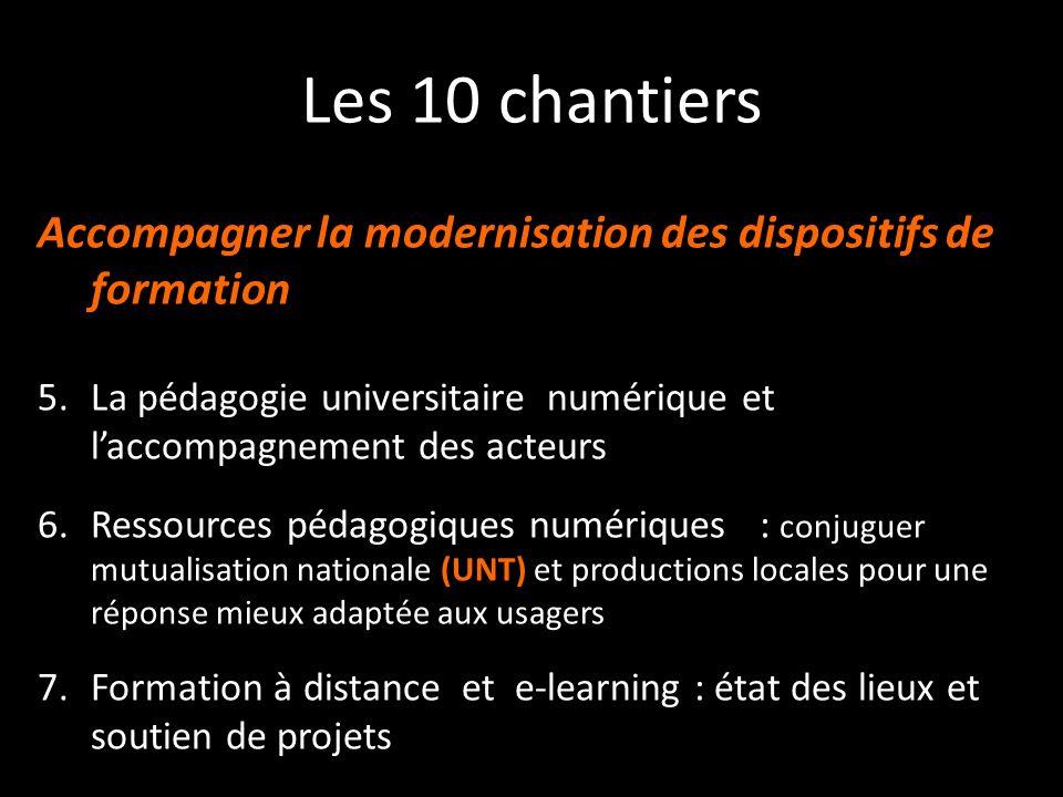 Les 10 chantiers Accompagner la modernisation des dispositifs de formation 5.La pédagogie universitaire numérique et laccompagnement des acteurs 6.Res