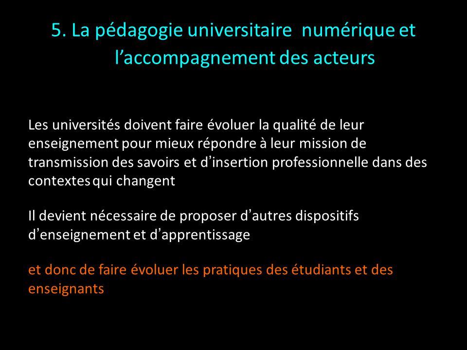 5. La pédagogie universitaire numérique et laccompagnement des acteurs Les universités doivent faire évoluer la qualité de leur enseignement pour mieu
