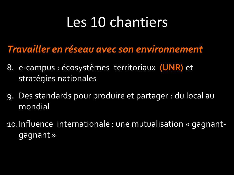 Les 10 chantiers Travailler en réseau avec son environnement 8.e-campus : écosystèmes territoriaux (UNR) et stratégies nationales 9.Des standards pour produire et partager : du local au mondial 10.Influence internationale : une mutualisation « gagnant- gagnant »