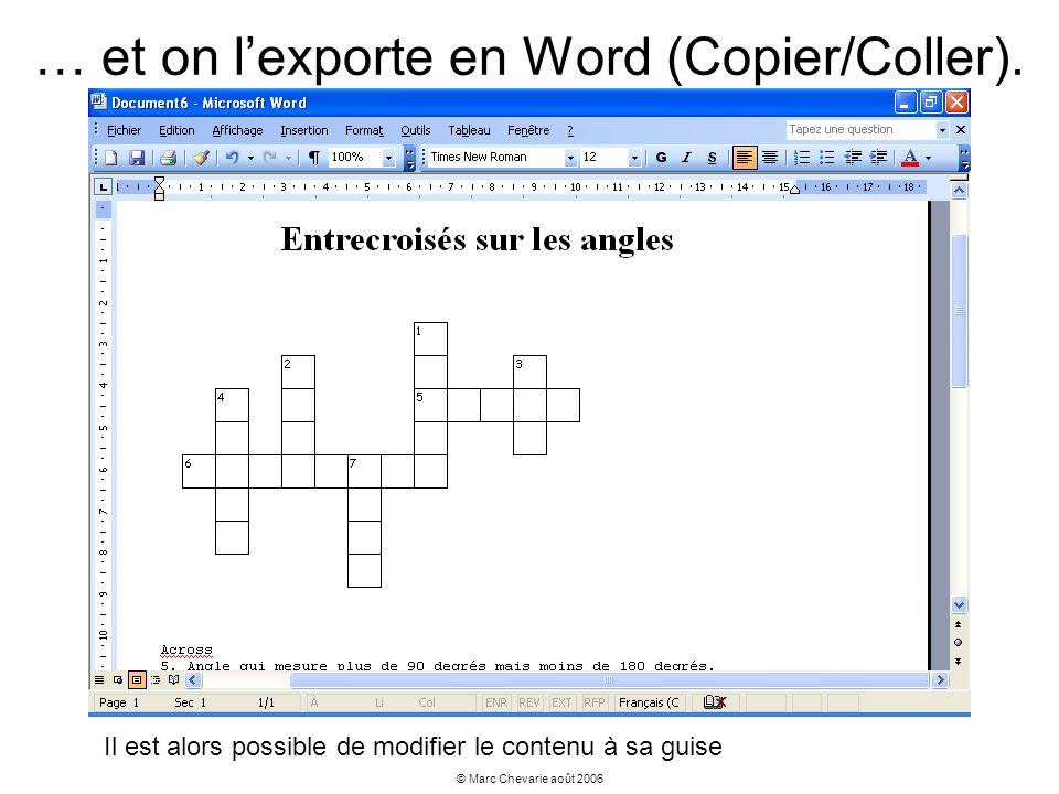 © Marc Chevarie août 2006 … et on lexporte en Word (Copier/Coller). Il est alors possible de modifier le contenu à sa guise