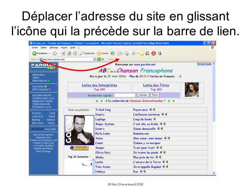 © Marc Chevarie août 2006 Déplacer ladresse du site en glissant licône qui la précède sur la barre de lien.