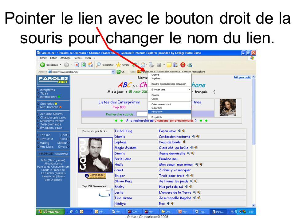 © Marc Chevarie août 2006 Pointer le lien avec le bouton droit de la souris pour changer le nom du lien.