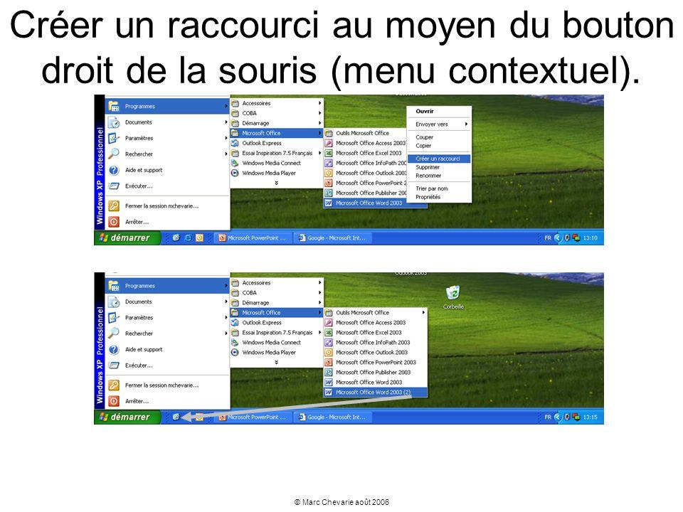 © Marc Chevarie août 2006 Créer un raccourci au moyen du bouton droit de la souris (menu contextuel).
