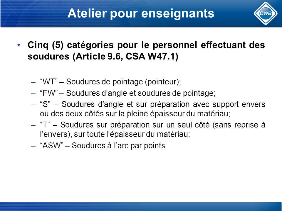 Atelier pour enseignants Cinq (5) catégories pour le personnel effectuant des soudures (Article 9.6, CSA W47.1) –WT – Soudures de pointage (pointeur); –FW – Soudures dangle et soudures de pointage; –S – Soudures dangle et sur préparation avec support envers ou des deux côtés sur la pleine épaisseur du matériau; –T – Soudures sur préparation sur un seul côté (sans reprise à lenvers), sur toute lépaisseur du matériau; –ASW – Soudures à larc par points.
