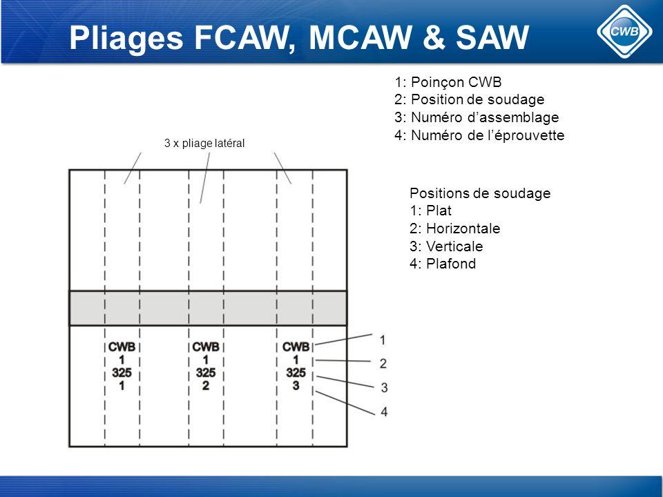 Pliages FCAW, MCAW & SAW 1: Poinçon CWB 2: Position de soudage 3: Numéro dassemblage 4: Numéro de léprouvette Positions de soudage 1: Plat 2: Horizontale 3: Verticale 4: Plafond 3 x pliage latéral