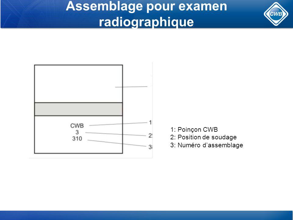 Assemblage pour examen radiographique 1: Poinçon CWB 2: Position de soudage 3: Numéro dassemblage