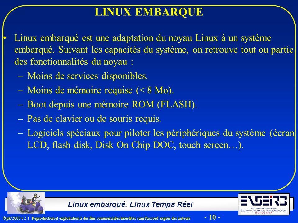 Linux embarqué. Linux Temps Réel pk/2003 v 2.1 Reproduction et exploitation à des fins commerciales interdites sans l'accord exprès des auteurs - 10 -