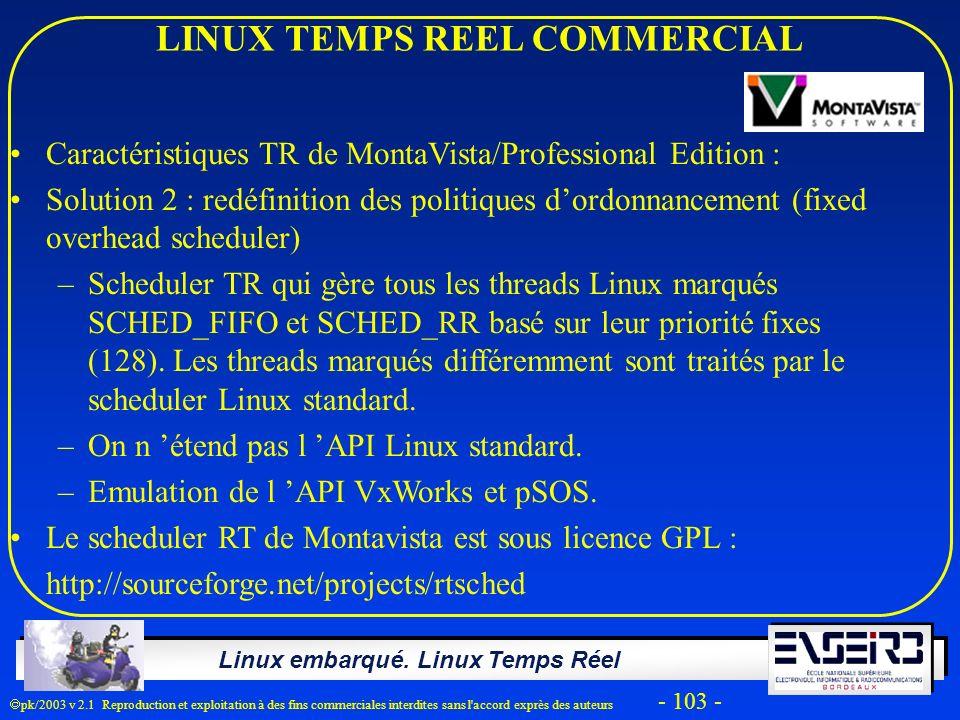 Linux embarqué. Linux Temps Réel pk/2003 v 2.1 Reproduction et exploitation à des fins commerciales interdites sans l'accord exprès des auteurs - 103