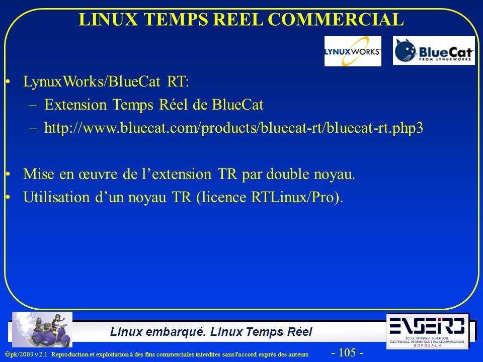 Linux embarqué. Linux Temps Réel pk/2003 v 2.1 Reproduction et exploitation à des fins commerciales interdites sans l'accord exprès des auteurs - 105