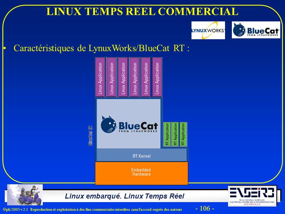 Linux embarqué. Linux Temps Réel pk/2003 v 2.1 Reproduction et exploitation à des fins commerciales interdites sans l'accord exprès des auteurs - 106