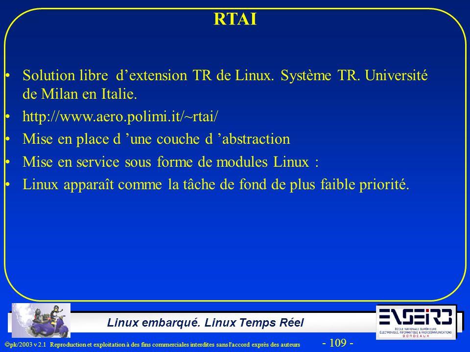 Linux embarqué. Linux Temps Réel pk/2003 v 2.1 Reproduction et exploitation à des fins commerciales interdites sans l'accord exprès des auteurs - 109