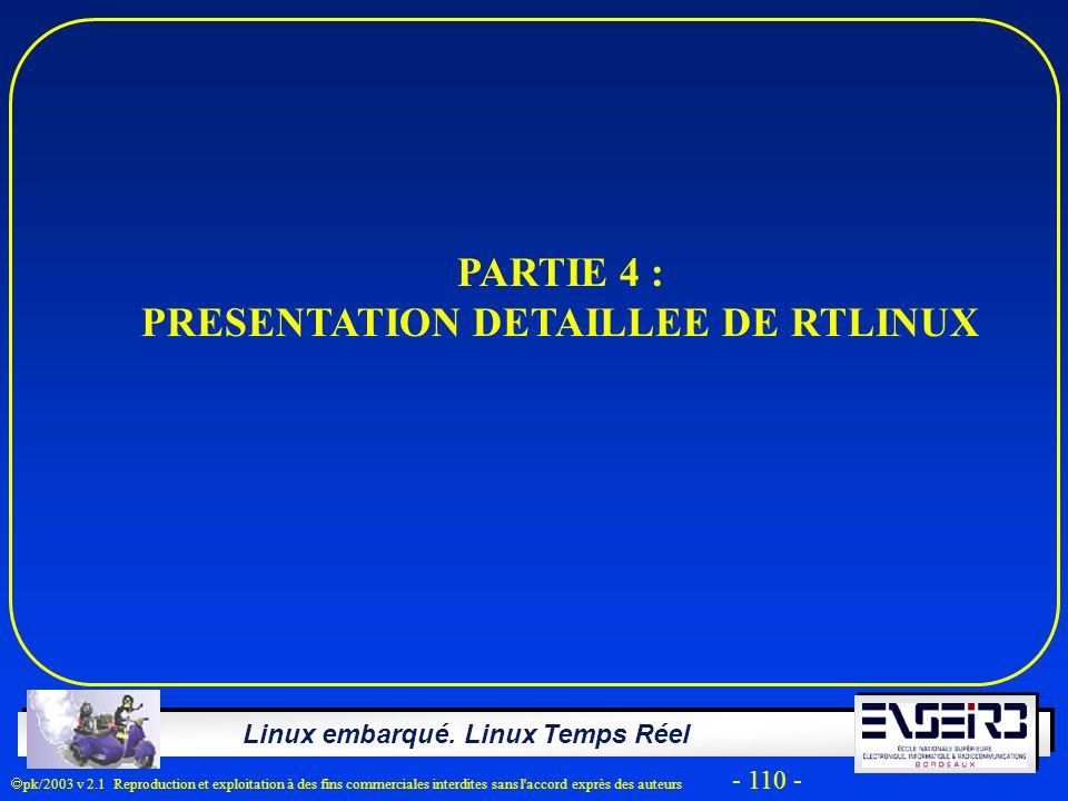 Linux embarqué. Linux Temps Réel pk/2003 v 2.1 Reproduction et exploitation à des fins commerciales interdites sans l'accord exprès des auteurs - 110