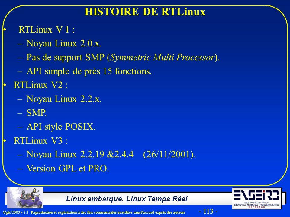 Linux embarqué. Linux Temps Réel pk/2003 v 2.1 Reproduction et exploitation à des fins commerciales interdites sans l'accord exprès des auteurs - 113