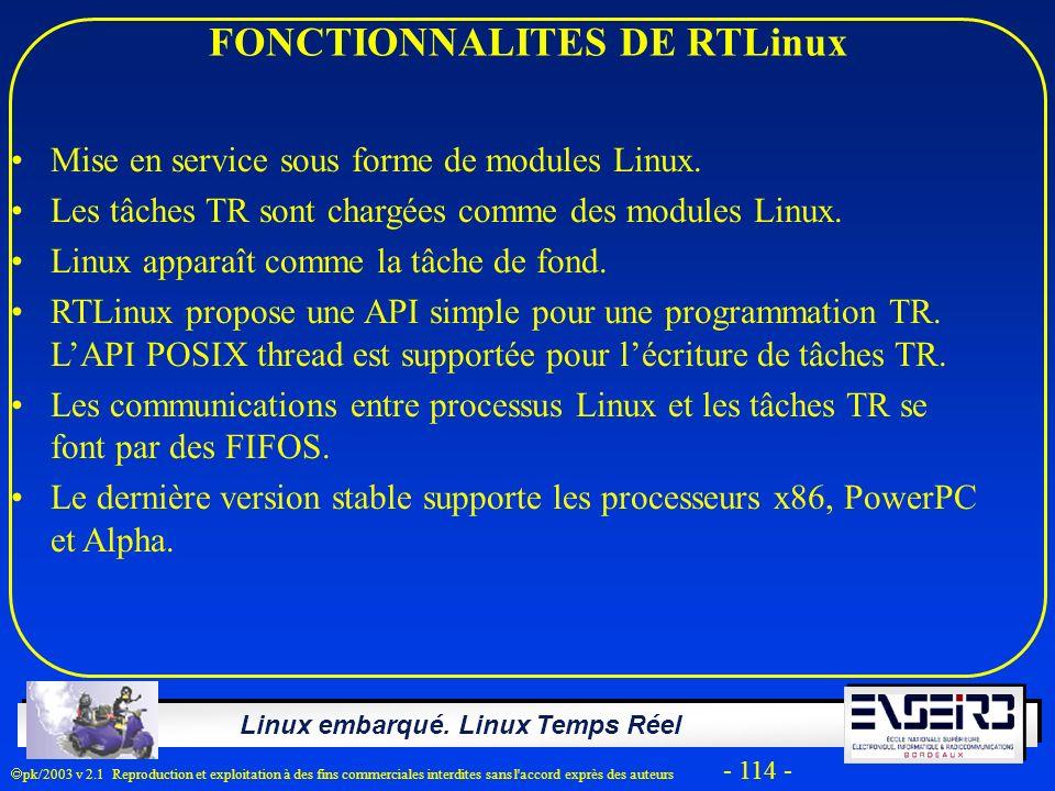 Linux embarqué. Linux Temps Réel pk/2003 v 2.1 Reproduction et exploitation à des fins commerciales interdites sans l'accord exprès des auteurs - 114