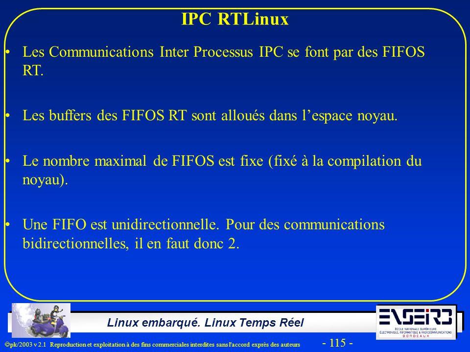 Linux embarqué. Linux Temps Réel pk/2003 v 2.1 Reproduction et exploitation à des fins commerciales interdites sans l'accord exprès des auteurs - 115